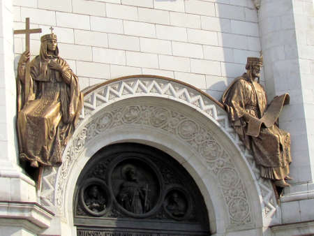 Two bronze sculptures of Cathedral of Christ the Saviour in Moscow, Russia                                                             photo