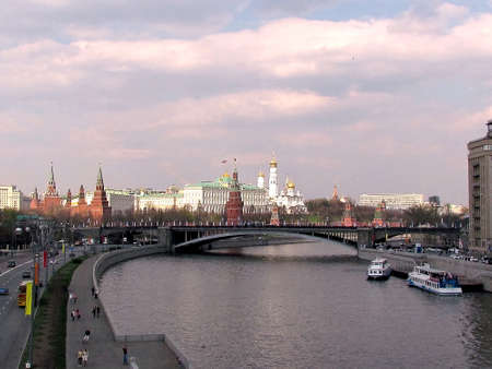 Moscow Kremlin and Big Stone Bridge on the Moscow River at evening in  Moscow, Russia Stock Photo - 13841511