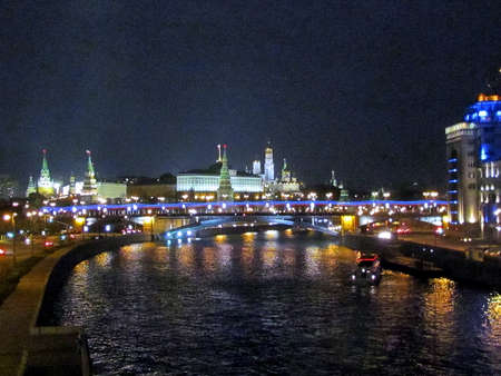 View to Big Stone Bridge on the Moscow River and Moscow Kremlin night  in  Moscow, Russia                                      photo