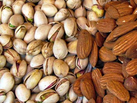 pista:   Dried fpistachios and almonds on bazaar in Tel Aviv, Israel