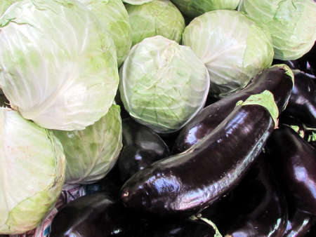 Cabbage and eggplants on bazaar in Tel Aviv, Israel