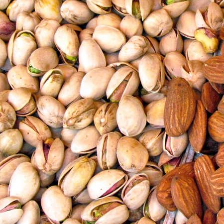 pista: Pistachios and almonds on bazaar in Tel Aviv, Israel