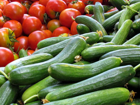 Cucumbers and tomatoes on bazaar in Tel Aviv, Israel                                                       photo