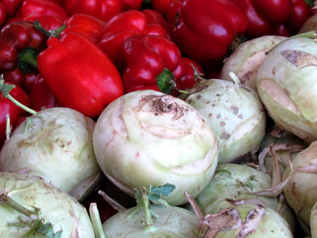 Large kohlrabi and red peppers on bazaar in Tel Aviv, Israel Stock fotó - 14243432