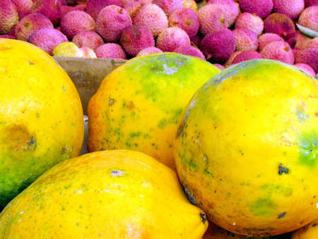 Papaya and Lichi Fruit on bazaar in Tel Aviv, Israel                                photo