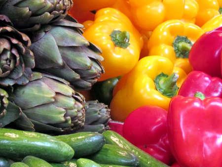 ehec: Cucumbers, artichoke and pepper on bazaar in Tel Aviv, Israel