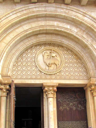 Door of Lutheran Church of the Redeemer in Christian Quarter of Jerusalem, Israel photo