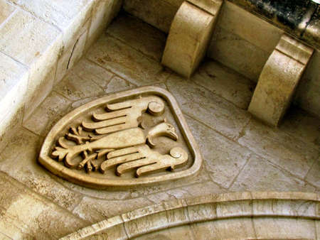 Symbol on the building of Lutheran Church of the Redeemer in Christian Quarter of Jerusalem, Israel                                photo