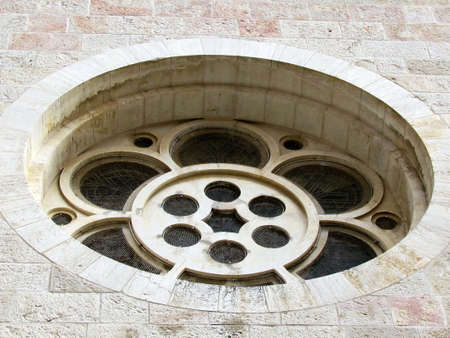 Window of Lutheran Church of the Redeemer in Christian Quarter of Jerusalem, Israel photo