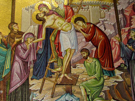 sepulcher: Mosaic depicting the Deposition of Christ in Church of the Holy Sepulcher in Jerusalem, Israel