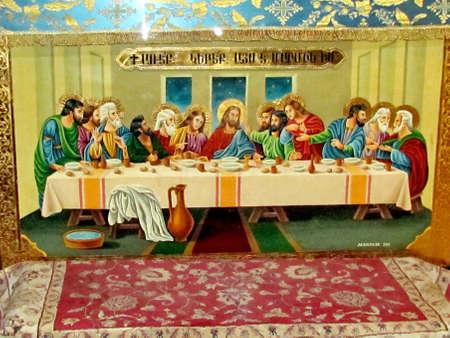 Icon von Abendmahl in der Kirche der Jungfrau Maria das Grab in Jerusalem, Israel Standard-Bild - 29815245