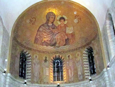 The Virgin and Child mosaic  in  Dormition Abbey in Jerusalem, Israel
