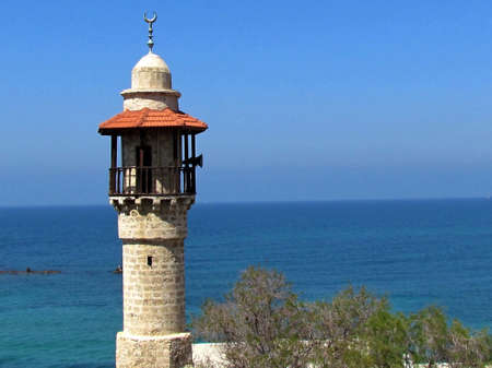 The minaret of  Sea Mosque in old city Jaffa, Israel                                     photo