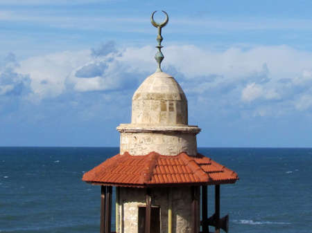 Top of the minaret of  Al-Bahr Mosque in old city Jaffa, Israel                                 photo