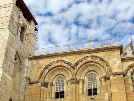 sepulcher: Windows of the pediment of Church of the Holy Sepulcher in Jerusalem, Israel                    Stock Photo