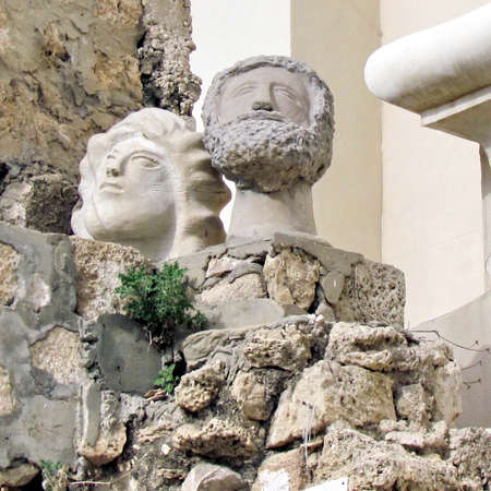 jaffo: Sculptures near St Peters Church in old city Jaffa, Israel