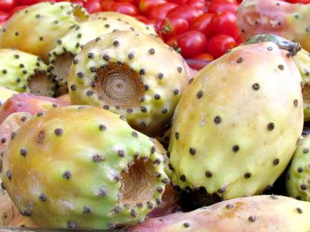 sabre's: Large sabra fruit on bazaar in Tel Aviv, Israel                                 Stock Photo