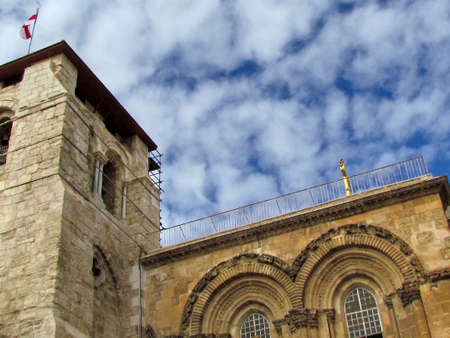 The part of facade of  Church of the Holy Sepulcher in old city of Jerusalem, Israel                                photo
