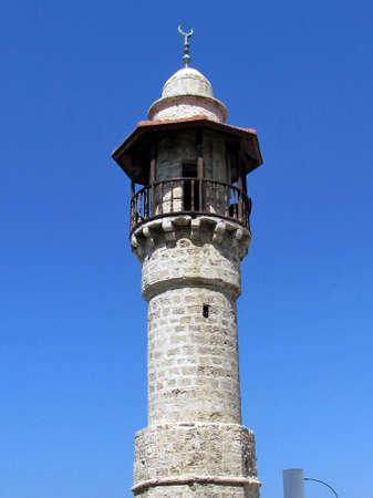 The minaret of  Al-Bahr Mosque in old city Jaffa, Israel                                      photo