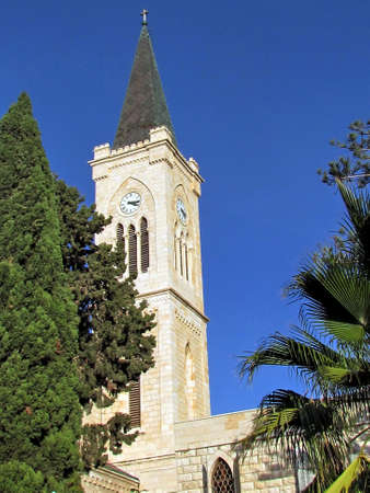 franciscan: The tower of Franciscan Church of St. Anthony in old city Jaffa, Israel