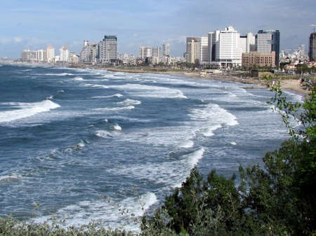View of heavy sea and Tel Aviv in old Jaffa, Israel