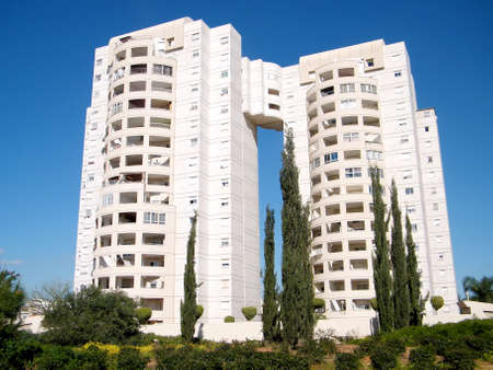 The high-rise residential building in quarter Neve Rabin in Or Yehuda, Israel