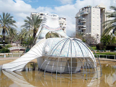Whale sculpture in quarter Neve Savyon in Or Yehuda, Israel