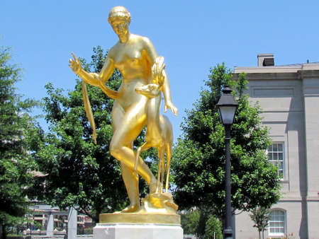 The Darlington Memorial Fountain in the Judiciary Square in Washington DC, USA                                Stock Photo