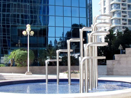 Modern fountain in Ramat Gan part of the metropolis of Tel Aviv, Israel