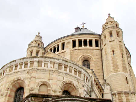 The ancient Dormition Abbey in cloudy weather in Jerusalem, Israel   photo