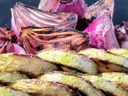 Fried zucchini and onions on bazaar in Tel Aviv, Israel