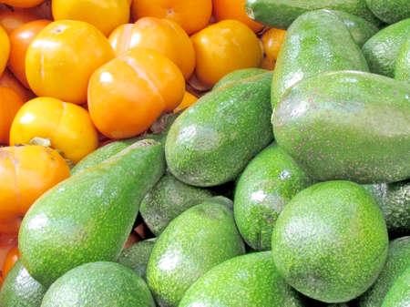 Persimmon and avocado on bazaar in Tel Aviv, Israel Stock fotó - 30678524