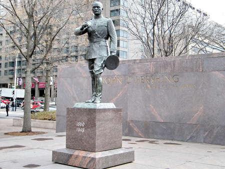 워싱턴 DC, 미국에서 존 퍼싱 조각 일반 스톡 콘텐츠