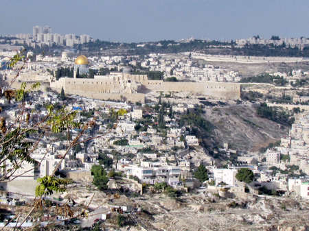 View of Old City and new homes from Haas Promenade in Jerusalem, Israel                                photo
