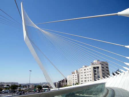 The new white chords bridge  in Jerusalem, Israel Stock fotó - 30991029