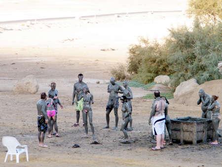 The Mud Treatment on Beach of the Dead Sea in Ein Gedi, Israel