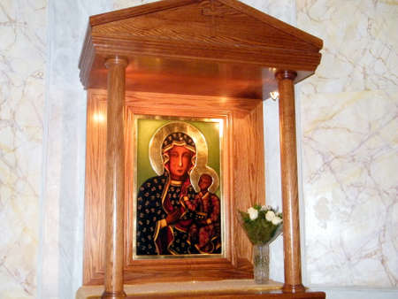 The Icon of Madonna and Child in Saint Peter Church in old city Jaffa, Israel