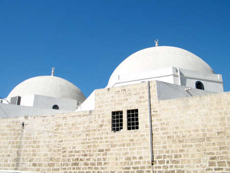 etymology: The White Domes of Mahmoudiya Mosque in old city Jaffa, Israel
