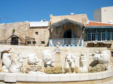 Fountain with sculptures of zodiac signs in old Jaffa, Israel Foto de archivo