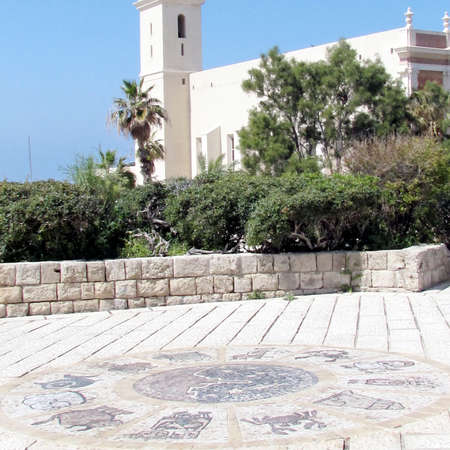 THe zodiacal signs in front of St. Peter Church in old city Jaffa, Israel                               photo