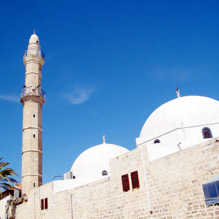 etymology: Domes and minaret of Great Mosque Muhamidiya Mosque in old city Jaffa, Israel
