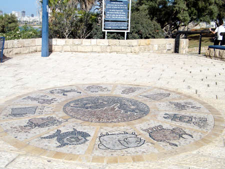 astral: Twelve Zodiacal signs in Abrasha park of old Jaffa, Israel
