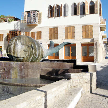 jafo: The Whale Sculpture in Fountain in old city Jaffa, Israel Editorial
