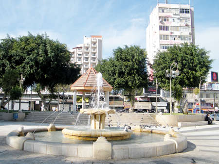 Fountain and pavilion on a square in Petah Tikva city, Israel Stock Photo
