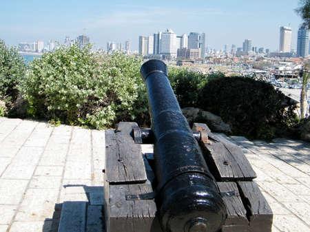 The Napoleonic Cannon aims to Tel Aviv from Jaffa, Israel  photo