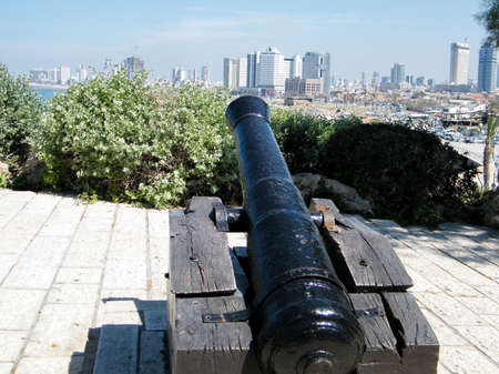 tel: The Napoleonic Cannon aims to Tel Aviv from Jaffa, Israel