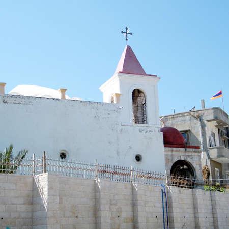 coptic orthodox: Building of Coptic Orthodox Church in old city Jaffa, Israel  Stock Photo