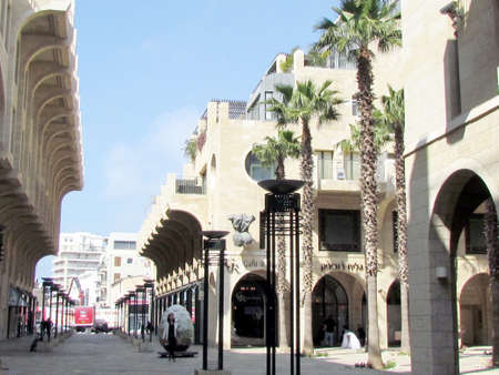 jafo: Modern sculpture and new homes on Yerushalayim Avenue in Jaffa, Israel