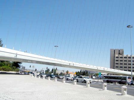 The part of new chords bridge  in Jerusalem, Israel