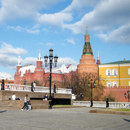 corner clock: Corner Arsenal Tower of Moscow Kremlin and Historical Museum in Moscow, Russia